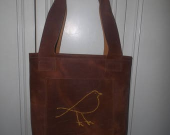 Medium Brown Reptile Embossed USA Leather Tote w/ Embroidered Bird & Lots of Pockets