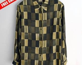 Checkered shirt women Vintage blouse L XL 90s blouse Vintage shirt Retro Blouse Geometric print 90s shirt Shoulder pads checkered blouse