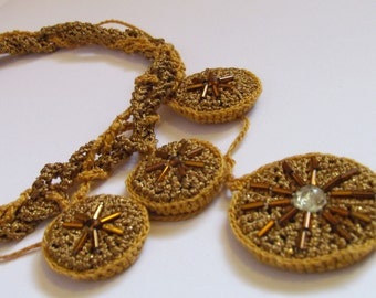 """Crocheted necklace """"Gold of the Aztecs"""""""
