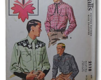 1956 McCall's Original Men's Western Shirt Vintage ORIGINAL Sewing Pattern #2118, Size Large, Uncut w/Transfer