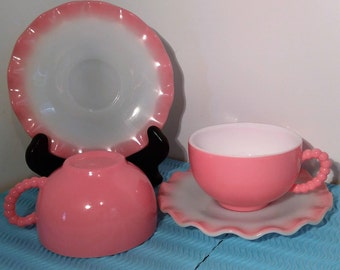 "Set of 2 1950's Hazel Atlas ""Ripple"" Cups and Saucers"
