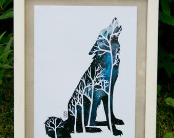 Wolf's night - postcard illustration A6