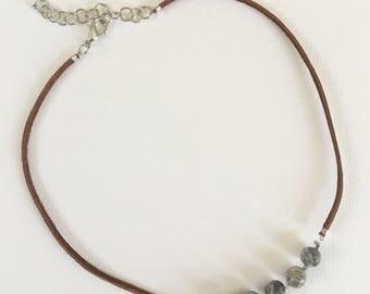 Jasper necklace, Leather necklace, Leather jewelry, Gray necklace, Jewelry, Boho jewelry, Beaded necklace, Gray jewelry, Necklace