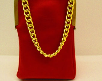 Gold Chain Red Leather Handbag