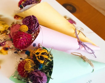 Spring Has Come: Dried Flowers Cone Style Mini Bouquet Set (Yellow+pink+green)
