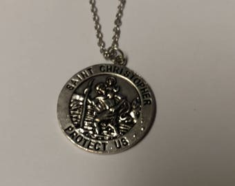 St. Christopher Medallion on a Stainless Steel Necklace ~ Patron Saint of Travelers
