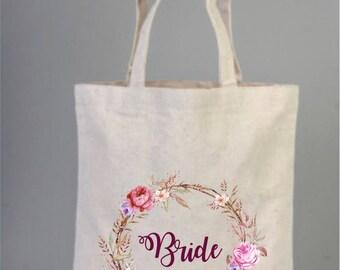 Wedding bags, BrideTote Bags, Bridesmaid Bag, Bridal Gifts, Cotton Bag, Tote Bag, Wreath Bag, Bridal Shower Gifts, Welcome Tote Bags