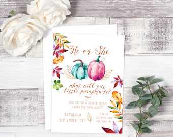 He or she party invites/ Pumpkin gender reveal invitation/ Fall pumpkin gender reveal invitation/ Gender neutral gender reveal invitation
