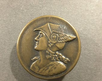 Vintage picture button of Olympian God Hermes.
