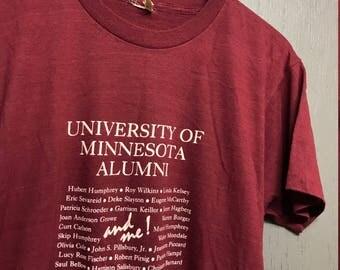 M thin vintage 80s University Of Minnesota Alumni golden gophers t shirt