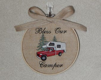 Bless Our Camper Truck Camper Red Truck- Camping Decor- Truck Camper Decor - Truck Camper - Camper Decor - Gifts for Campers - Camping Gifts
