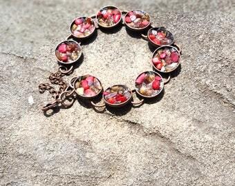 Red + Amber Gemstone Bracelet