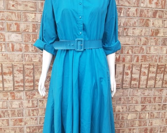 Vintage Turquoise The American Shirt Dress Size 9/10 With Belt