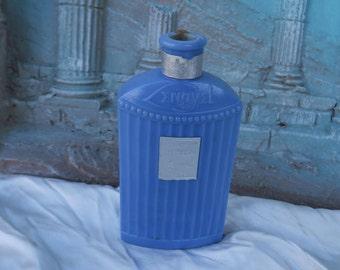 ancien flacon à parfum de collection en verre bleu,parfumerie  Lengyel, lait Ivella, old collection perfume bottle in blue glass