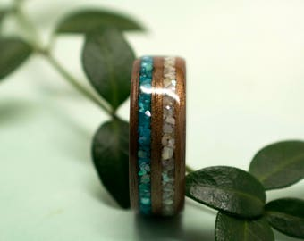 Walnut Bentwood Ring with Blue and White Mother of Pearl