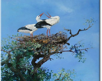Stork nest... bird animal landscape original fine art nature art | wedding birthday gift | ready to hang 'home sweet home' or a welcome gift