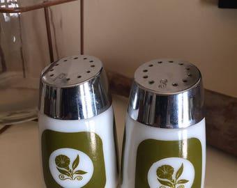 Vintage Milk glass Salt and Pepper Shakers Green Flower
