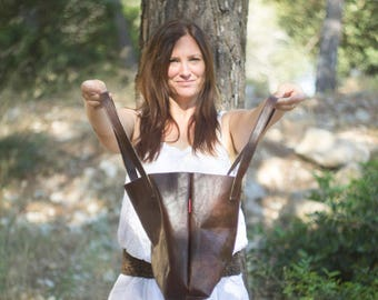 British Leather Handcrafted Medium Biscuit Brown Leather Tote bag by Claresque