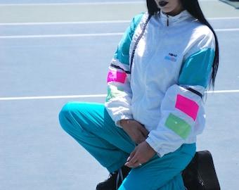 Vintage Teal and Neon Pink Head Tennis Tracksuit