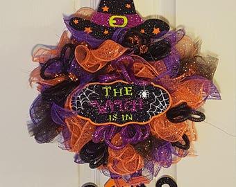 Witch Mini Deco Mesh Wreath, Halloween Wreath, Fall Wreath,