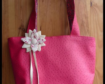 """Fleur de Printemps"" fuchsia ostrich leather large tote"