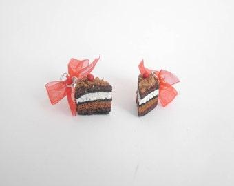 Earrings hand from Black Forest cake