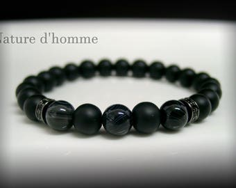 Bracelet matte black onyx and agate marbled Ref: BN-417