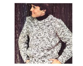 Chunky Tweed Sweater Knitting Pattern