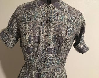 Volup Size L 1950s Fit and Flare Shirtwaist Cotton Dress