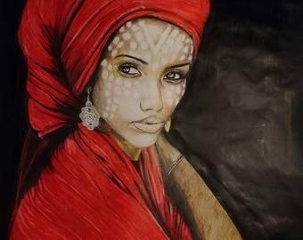 Portrait   Superbe femme noire foulard rouge