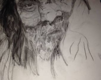 Charcoal Print of Willie Nelson