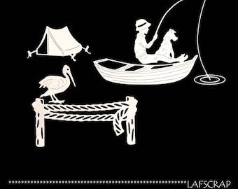lot cutouts scrapbooking scrap child fishing dog boat ship pelican tent camping cut paper embellishment