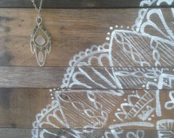 Serenity/White Beach Glass Chandelier Pendant | Green Jasper Pendant | Boho Style