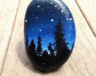 Painted stone - night sky