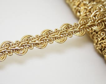 Gold braid passementerie trim, 1 m Gold Ribbon 14 mm