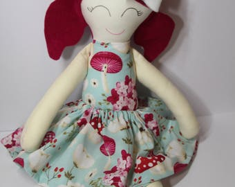 Handmade Fabric Doll - Wendy – Aqua Blue, Red and White Dress, Dark Pink Felt Hair, Grey Felt Shoes and a White Bow