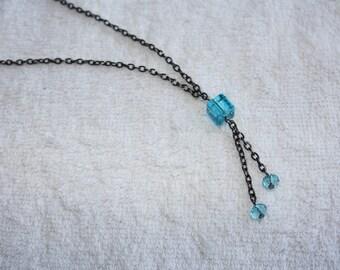 Necklace long blue turquoise & Black