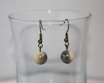 Fancy beige and taupe earrings