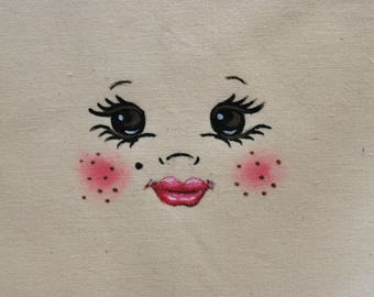 Face, figure, for textile design baby doll head DIY rag doll pattern for making cloth doll, DIY