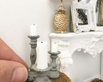 Miniature pillar candles - set of three - rustic grey - Dollhouse - Diorama - Roombox - 1:12 scale