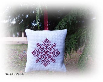 Shell stitch, embroidery, needle, snowflake, red quilted, embroidered
