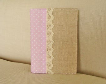 Cover of diary in natural and pink tones fabric