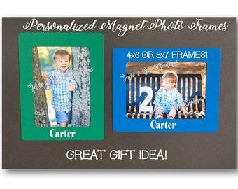 Personalized 4x6 OR 5x7 Magnetic Photo Frames, Fridge Magnet, Gift Idea, Custom Child's Name