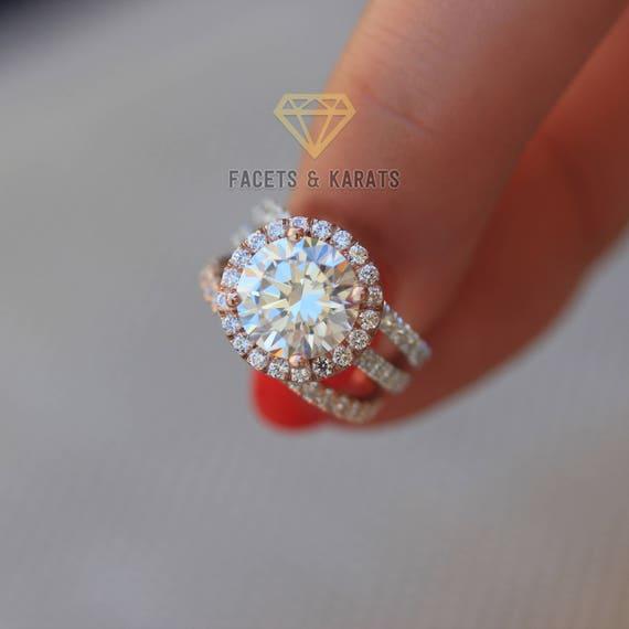 5 Carat Two Tone Wedding Ring Set of 3 Rings Engagement Ring