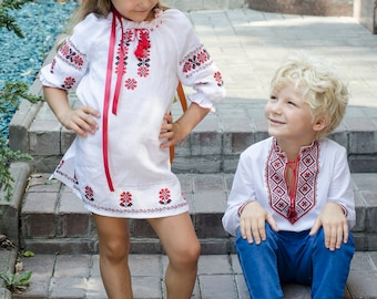 Linen Embroidered Dress  Ukrainian Vyshyvanka Dress for girls