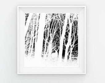 Abstract Landscape, Deer Print, Black and White Decor, INSTANT DOWNLOAD, Abstract Nature Print, Scandinavian, Modern Art, Abstract Art