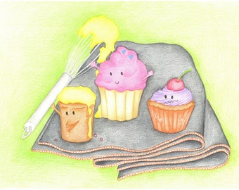 illustration cup cakes
