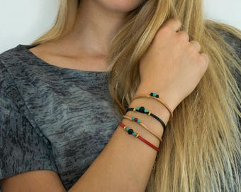 Women Leather Bracelet, Delicate Bracelet, Leather Lace Bracelet, Glass Beads Bracelet, Ideal Gift For Her, Multi color Bracelet.