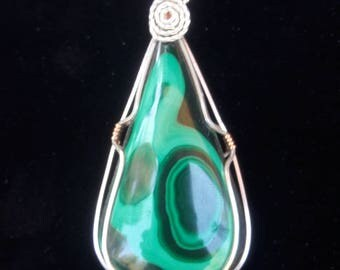 Malachite in Sterling Silver with Copper Accents