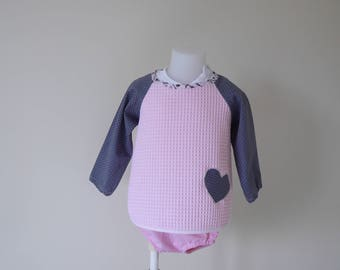 Old pink Terry cotton long sleeve cotton bib with white dots, size 12 months